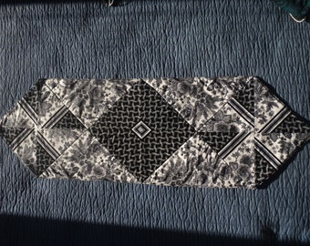 Black Floral Quilted Table Runner