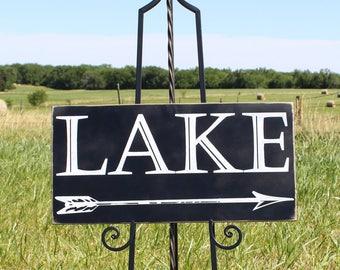 Wooden Lake Wall Hanging/Lake Themed Sign/Lake Arrow Sign/Lake Directional Sign/Lake Wall Decor/Lake Cabin Sign/Rustic Home Decor/Cabin Sign