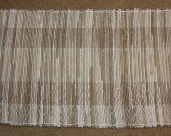 Handwoven Rag Rug - Brown, Khaki & Tan - 46 inches....(#93)