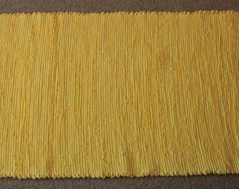Handwoven Rag Rug - Bright Lemon Yellow - 43 inches....(#182)