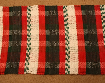 Handwoven Rag Rug - Christmas Red, Green & White- 43 inches....(#193)