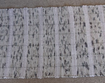 Handwoven Rag Rug - Oatmeal Tan with Green & Brown - 45 inches....(#117)