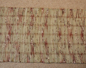 Handwoven Rag Rug - Peas Soup Green with spots of burgundy - 48 inches....(#164)