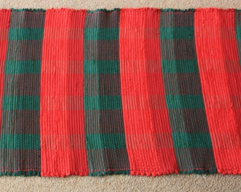 Handwoven Rag Rug - Christmas Red and Green Flannel Stripes - 47 inches....(#185)