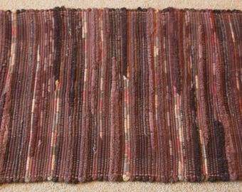 Handwoven Rag Rug - Dark Browns variegated - 45 inches....(#169)