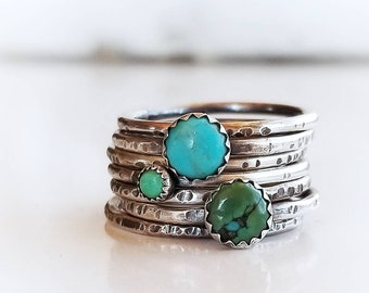 Turquoise Stacking Rings | Turquoise Ring Stack | Stackable Turquoise and Silver Rings | 925 Hammered Sterling Silver Turquoise Ring Set