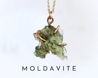 MOLDAVITE Necklace   Raw Moldavite Necklace Gold or Sterling Silver   Limited Stock .5 gram - 1.5 gram   Certified Moldavite   Meteor Stone
