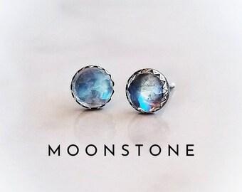 MOONSTONE Stud Earrings Sterling Silver   Rose Cut Moonstone Stud Earrings   Faceted Moonstone Ear Studs   Moonstone Earrings Silver