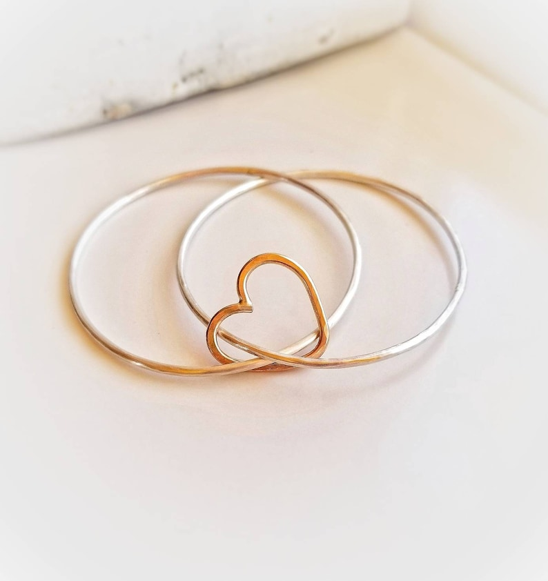 Valentines Day Gift Connected By Heart Bracelet Silver Bangles CONNECTED HEART Sterling Silver Bangle Bracelet Gold Heart Bracelet