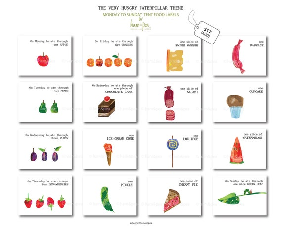 photograph relating to The Very Hungry Caterpillar Story Printable named Caterpillar Motivated tent foods Labels (Monday toward Sunday) Printable history