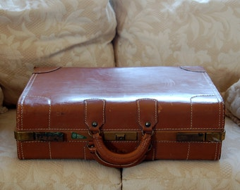 Vintage 1940's Brown Leather Suitcase or Briefcase