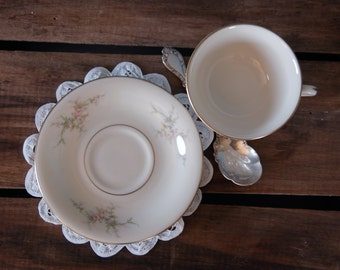 "Vintage Arcadian ""Petite Rose"" Cup and Saucer Set"
