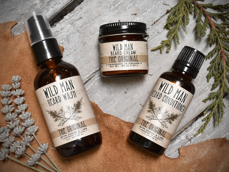 b448cf933b97 Mens Grooming Kit - Wild Man Beard Gift Set - Three Pack - Beard Oil  Conditioner