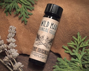Natural Cologne Oil WILD MAN Unisex Essential Oil Perfume with Cedar and Lime 15ml // .5oz For Him
