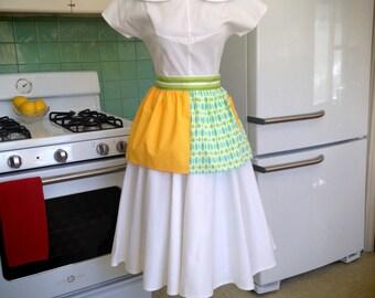 Yellow White Polka Dots / Green Teal Print - Vintage Inspired Half Hostess Apron w Pocket