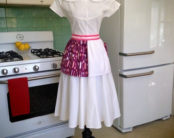 Pink White Polka Dots / Purple Print - Vintage Inspired Half Hostess Apron w Pocket