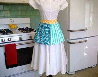 Teal Floral / Blue & White Stripes - Vintage Inspired Half Hostess Apron w Pocket