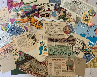Vintage Cartoon/Comic Ephemera Kit , 50 Assorted Items , Cartoon Junk Journal Kit
