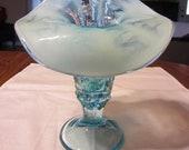 Fenton Blue Opalescent Hanging Grape Jack in Pulpit Vase, c. 1990
