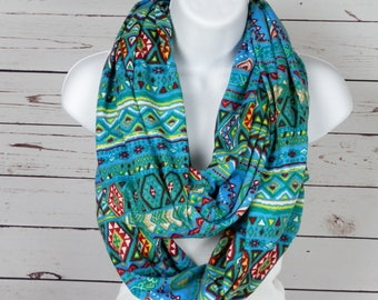 Sweater Knit Infinity Scarf Turquoise Blue Tribal Knit Scarf/Chunky Scarf/Fall Scarf/Winter Scarf/Womans Scarf/Southwestern Infinity Scarf