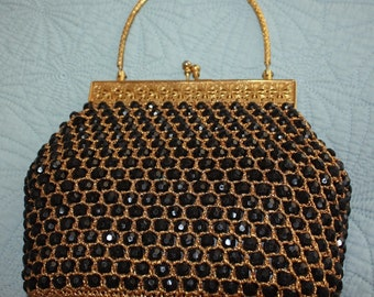 1950's Black Beaded and Crocheted Purse