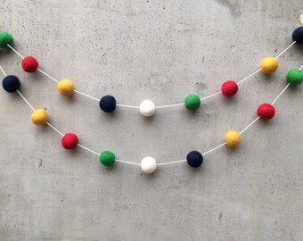 Hudson's Bay Point Style Felt Ball Garland - Nursery Playroom Party Decor Bunting Navy Gold Red Green