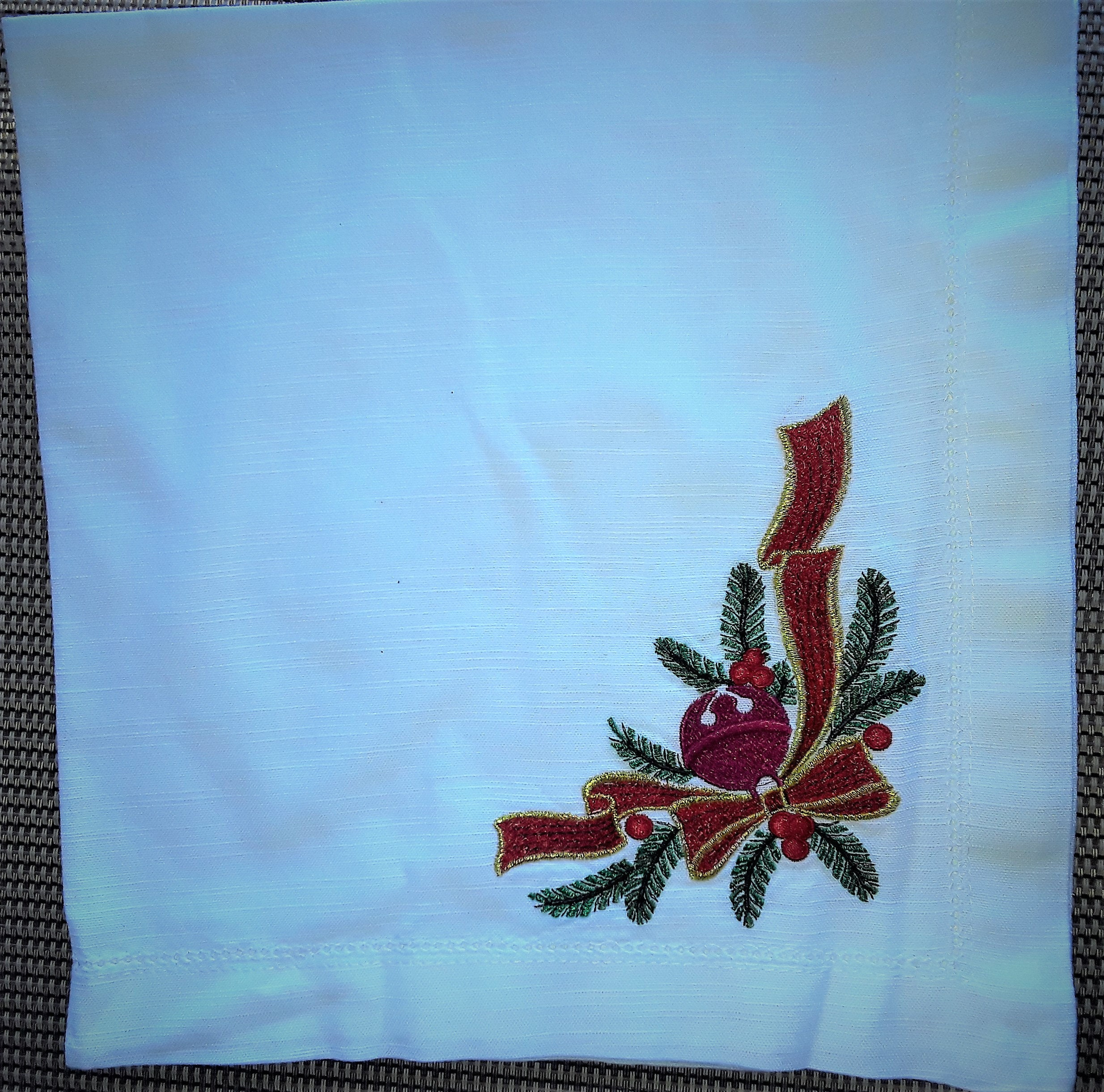 White Linen Napkins With Embroidery For Christmas Etsy
