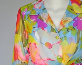 1970s floral culottes pant set XS