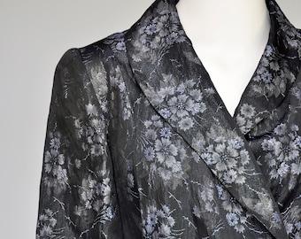 1930s floral brocade metallic robe XS/S/M