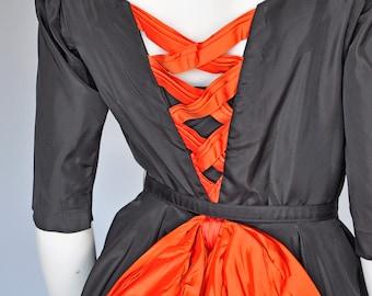1950s black and orange taffeta party dress  XS/S