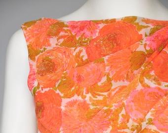 1950s orange floral wiggle dress XS