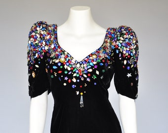 1980s avant garde black velvet party dress XS