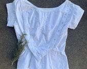 victorian corset cover 1860s white cotton blouse floral cotton nursing shirt pleated victorian bodice XS S
