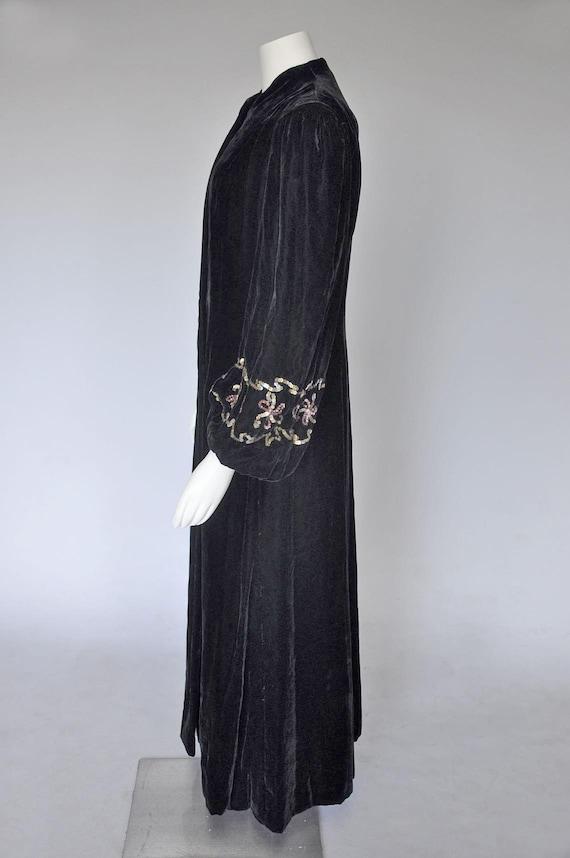 1930s 40s black velvet opera coat | vintage 40s v… - image 7