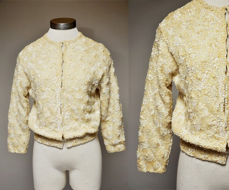 vintage 50s sequin cardigan  ivory sequin sweater  fully image 0