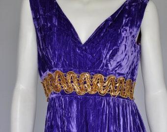 1960s purple crushed velvet jumpsuit M
