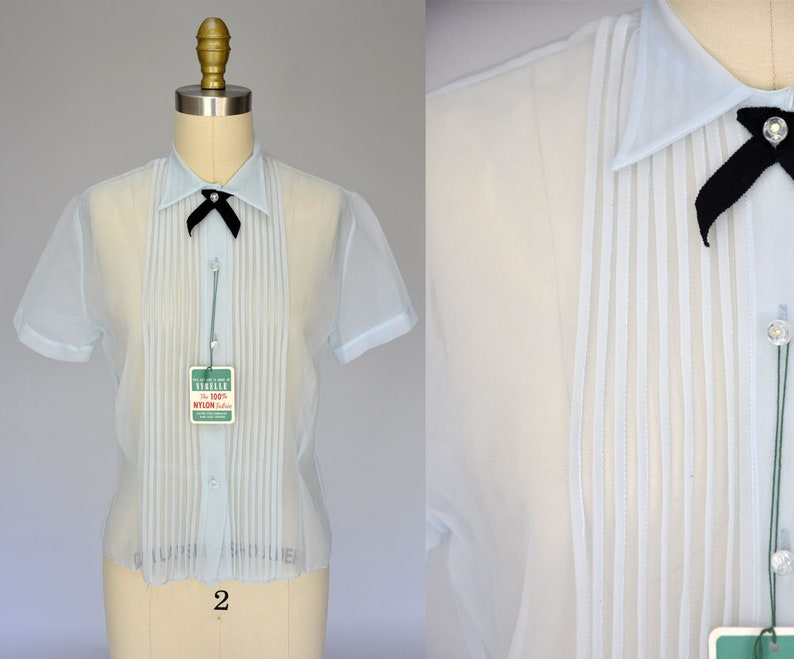 1950s nylon blouse  sheer 50s shirt  light blue vintage image 0