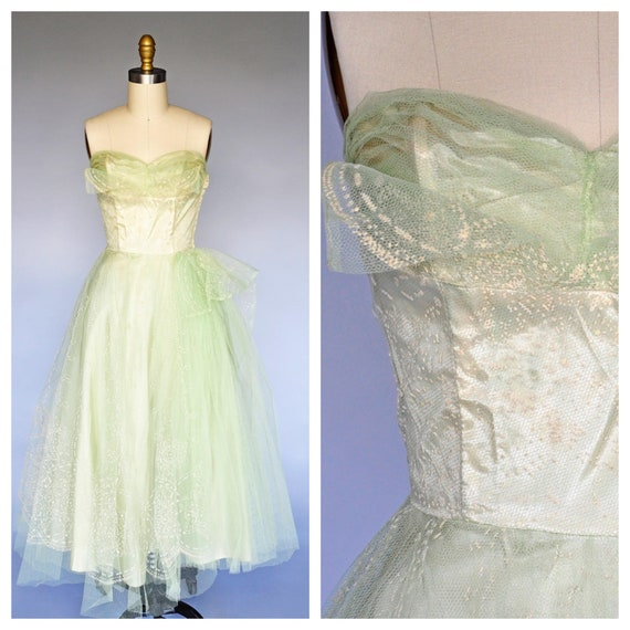 1950s chartreuse tulle party gown XS/S