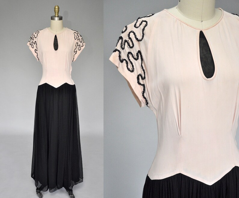 40s gown  vintage 1940s black and pink gown  40s chiffon image 0