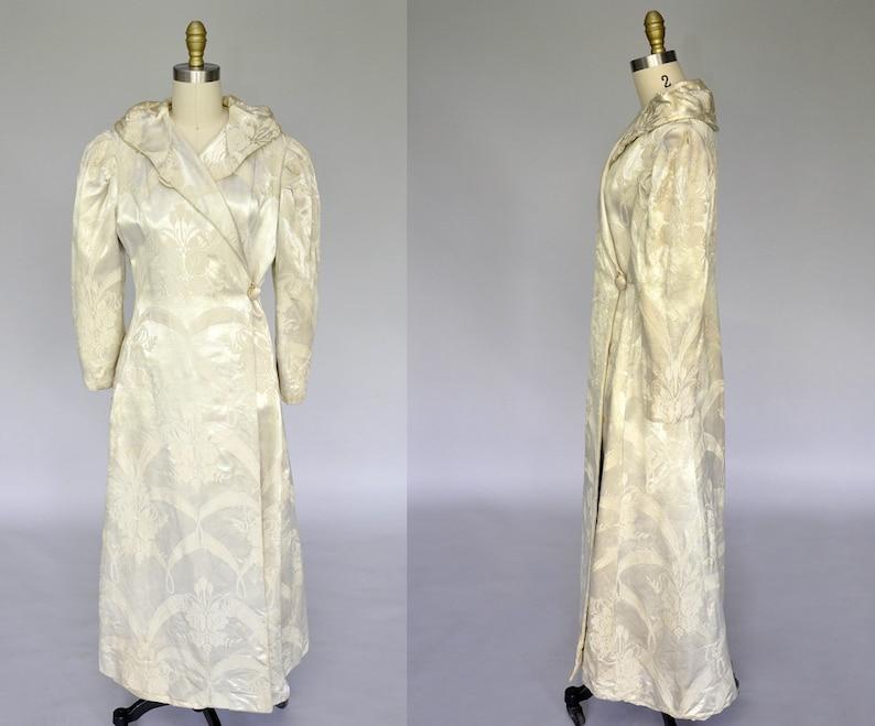 1930s satin coat  vintage 30s 40s ivory brocade robe  1940s image 0