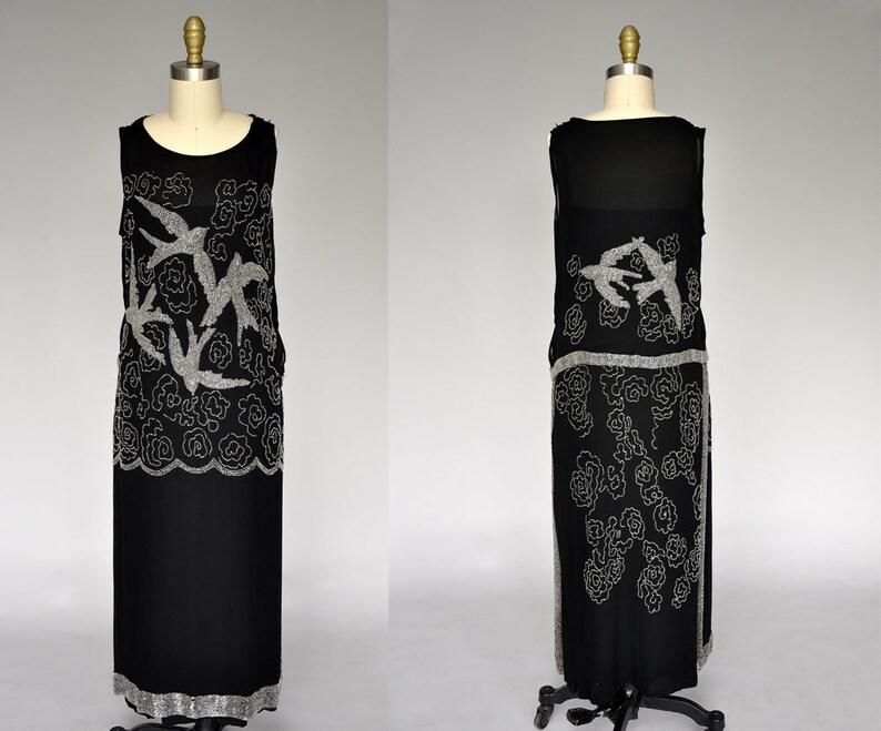 1920s beaded dress  20s flapper dress  20s black bird dress image 0