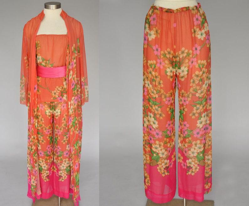 Hanae Mori pant set  70s silk floral pants  vintage 1970s image 0