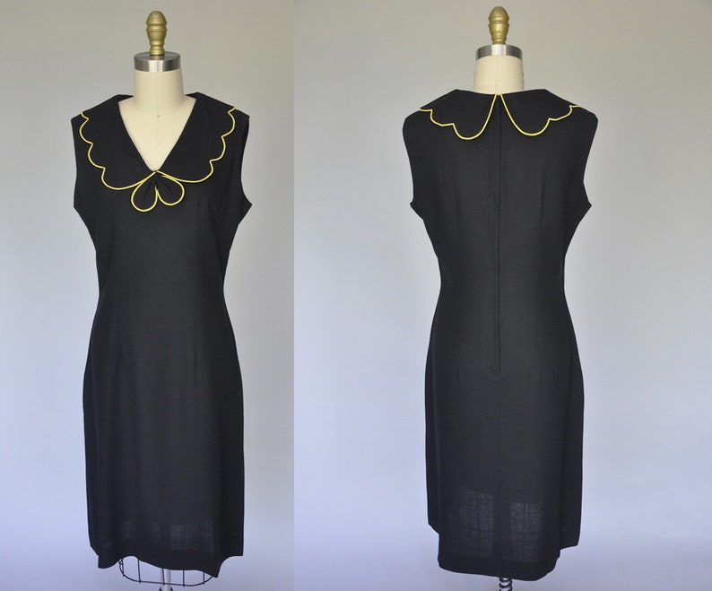 50s wiggle dress  1950s vintage black dress  sleeveless image 0