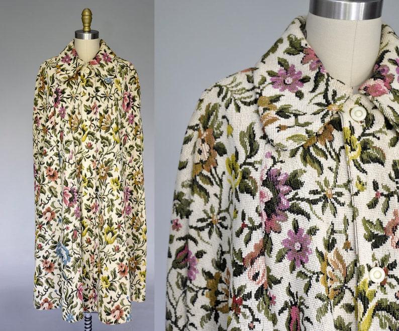 70s tapestry coat  vintage 1970s floral cape  boho floral image 0