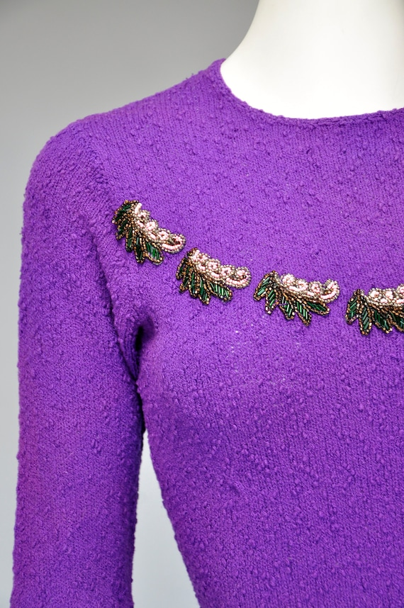 1930s purple knit dress with beading details XS-M