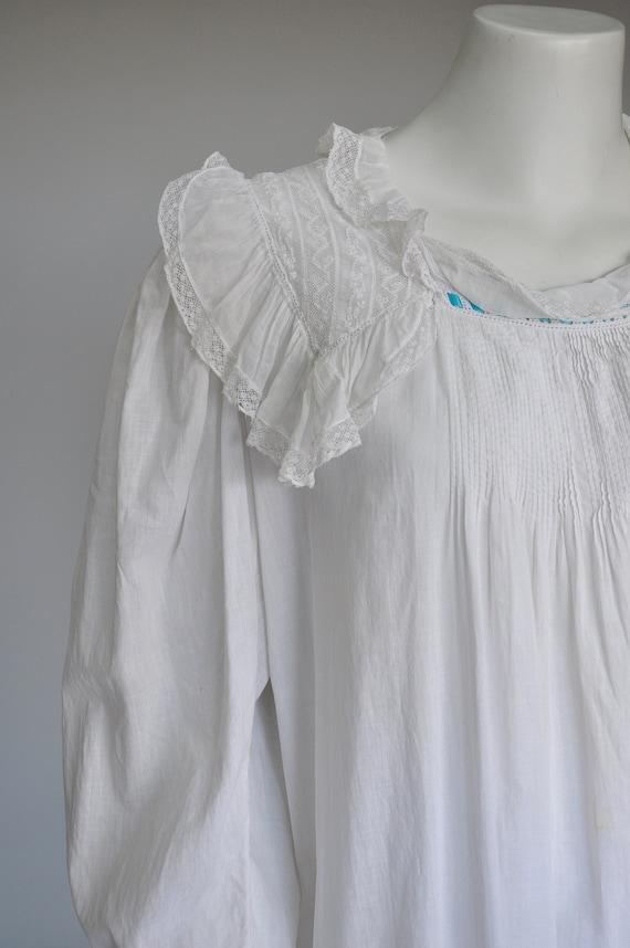 antique Edwardian Victorian cotton nightgown S/M/L