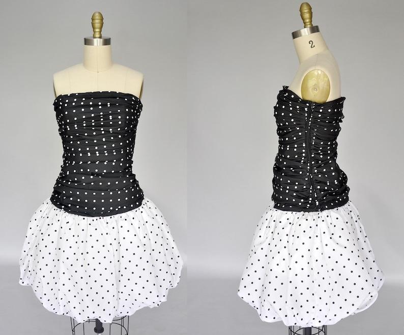 vintage DIOR dress  1980s bubble skirt dress  Dior polka dot image 0