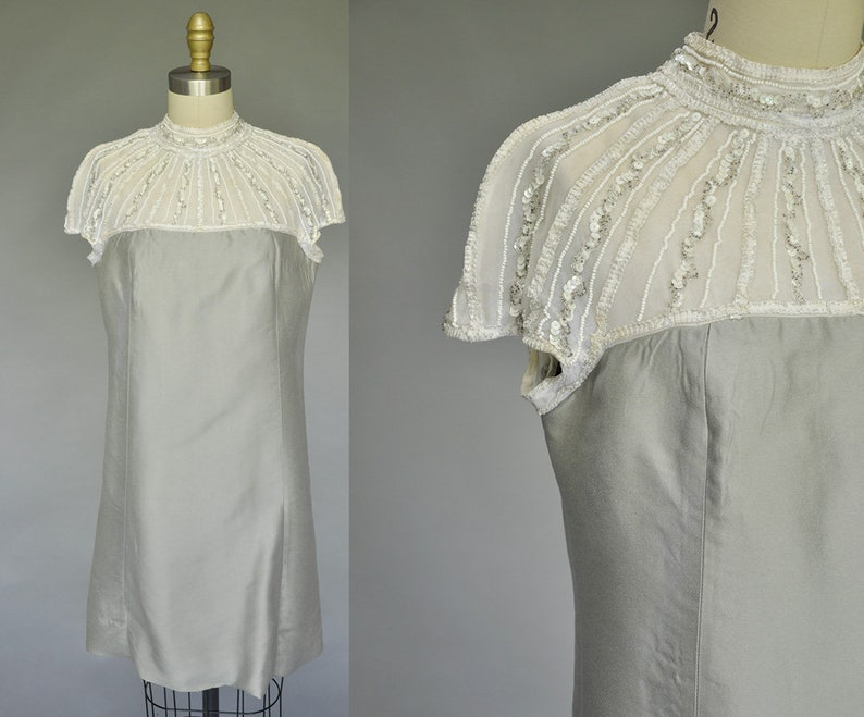 60s mod dress  vintage 1960s grey white mod dress  sequin image 0