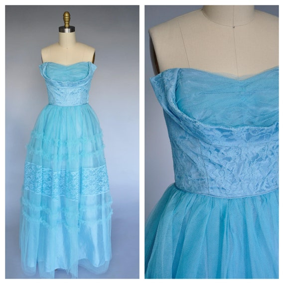 1950s blue tulle party gown S