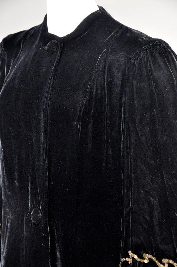 1930s 40s black velvet opera coat | vintage 40s v… - image 4